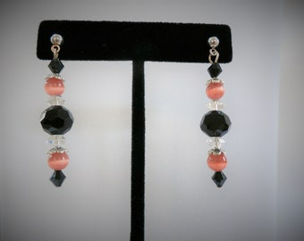 Vintage Victorian Peach bead earrings, black, and lacy clear crystal bead earring with silver post earring