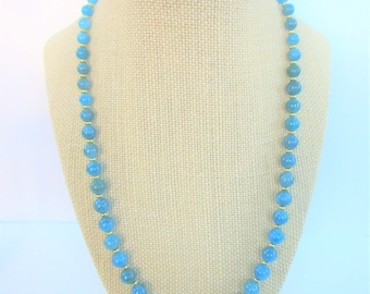 "21"" Neon Blue Apatite Necklace,14K Gold Plated beads & clasp,Gorgeous Variegated aqua color ball bead, superior high polish gemstone beads"