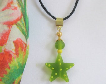 Green Sea Glass Star Pendant,Hand wired Green & yellow star necklace,14K Gold space, bail and wires.Hand crafted star Charm,Black silk cord