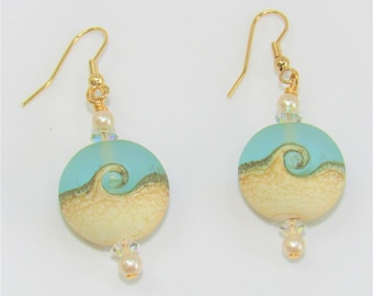Beach Wave Earrings,Light Teal,Frost Glass, 2 Wave Beads,Pearls,Sterling Plate,Gold Plate,Ear wires,hook ear wires, Pendants Available
