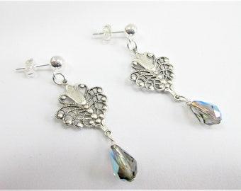 Vintage Filigree, Silver Earring,Swarovski drops, pale blue aurora, teardrop Crystal, pierced earring,Sterling ball clutch,Victorian finding