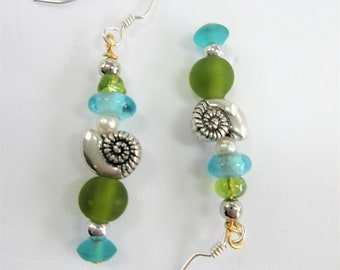 Earrings (only) match Ocean mini sculpture stacks of seaglass,pearl,silver nautilus,gold wire,crystal bead,silver hooks-green beveled  bead