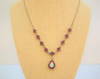 "Garnet Necklace,Opal Necklace,Garnet Gold Necklace,Vintage Garnets,Garnets and Opal,Garnets chain Necklace,Victorian Garnet Necklace,18"""