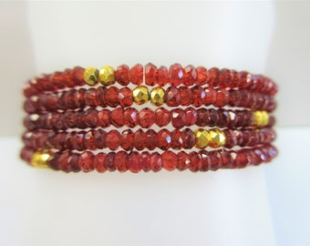 5 strand Garnet Gold  stretch bracelet, gemstone beads, 14K gold 20 accent bead,countless carats, faceted 4 mm ruby red garnet rondelle bead