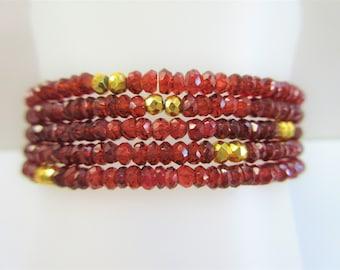 "5 strand Garnet bracelet, stretch gemstone beads w/20 pyrite accent ,14K gold,faceted 4mm ruby red garnet rondelles. small wrist 6 - 6 3/4"""