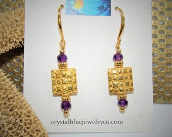 Amethyst and Gold Earrings,Large 5mm pretty Purple Faceted full carat Gemstone Beads,22K Gold over copper 12mm Square w/circle embossing