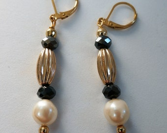 Leverback black crystal bead Gold Earrings,charcoal faceted crystal bead,hand wired gold bead,ear wires, pearls, lever back,choose earwires
