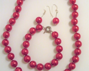 Ruby Red Glass Pearl Necklace, Bracelet and Earrings set, 12mm  perfect glass beads, silver slide clasps drop ball pierced earrings