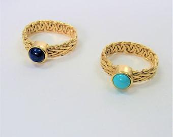 14K Gold Byzantine Gemstone Ring,Sleeping Beauty Turquoise or Lapis Lazuli Round Cabachons, Woven Wheat Design. Both Size 8,14K Gold Turkish