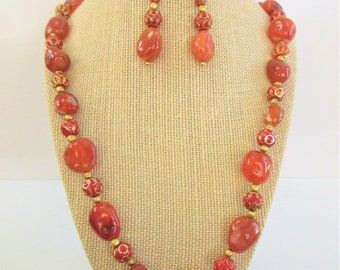 "Red Agate Gold Bead 23"" Necklace,Matching Earrings,Tumbled burnt red Agate Gemstones, Laser cut red gold spacer India beads, Handcrafted"