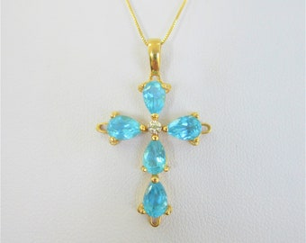 Blue Topaz 14K Gold Cross & Chain,5 pear shape Blue Topaz, Vintage Solid Gold , Diamond accent, all marked 14K, Excellent Condition!Gift Box