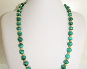 Malachite bead Necklace,Necklace earring set,Malachite Gold beads,Long strand malachite,10mm malachite gemstones,Malachite Gem Beads,Earring
