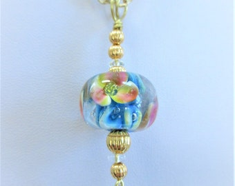 Floral Lamp Work Bead Pendant, Blue Yellow Pink White Clear Glass Blown 20 mm Glass Bead, Gold Plated Corrugated Beads,Wire bail,& chain
