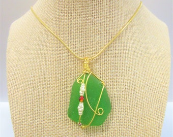 Genuine Sea Glass Pendant,green bottle glass wrap in Gold wire, Red lampwork glass,2 faux pearls, 2.5 inch pendant,18 in gold snake cord