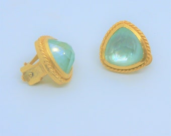 Gold and Chalcedony clip earrings, Julie Vos Pegasus Clip earrings,faceted aqua chalcedony,24K Gold over brass,new with box, Hallmark