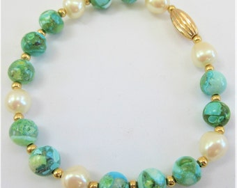 Turquoise Pearl gold bead stretch bracelet, 9-11 mm beads of turquoise varigated stone,14k Gold spacer beads,Teal aqua bracelet, gold beads
