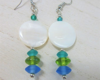 White pearlized acrylic disc & blue green sea glass earrings,aquamarine,lime and blue sea glass disc beads, handwired with silver fish hooks