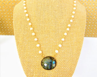 Vermeil Labradorite,Pearl chain,CZ Bezel,black CZ frame,Gold prong set Labradorite,Facet Labradorite oval,east west pendant,Natural pearl