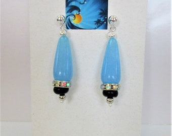"Sky Blue Jade,Malaysia ""Jade"", Teardrop Earrings,Black Jasper Bead, Aurora Borealis Crystal,Sterling silver headpin,beads,Ball post clutch"