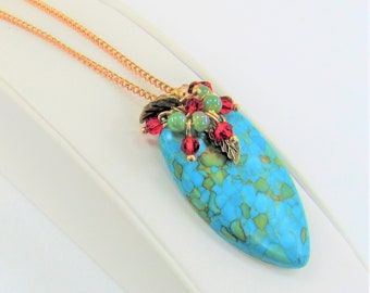 Turquoise Pendant,Turquoise polished stone,Beaded clustersCop,Rose Gold chain,Green Blue Pendant,red green champagne crystal,Hand wired bead
