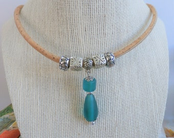 "Portugal Cork necklace with glass bead slider, teal glass beads and silver accent slider beads,18"" cork necklace,silver lobster claw closure"