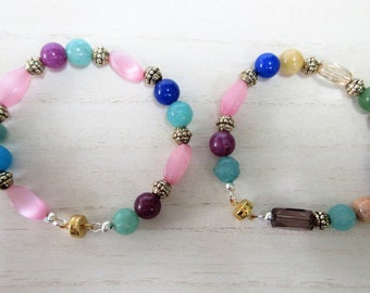 "Pink Blue Gold bead Bracelets, Pink Mother of pearl beads, gold plated accent beads,magnetic, 8.5 Inches,buy 1 or 2 bracelets to ""couple"""