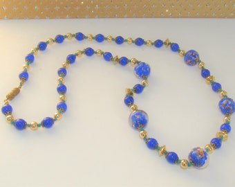 Blue Venetian Glass,Bead Necklace,Blue Glass Ball beads,Italian Vintage Glass,Goldfilled beads,Vintage Lampwork Glass,Lampwork Glass Beads