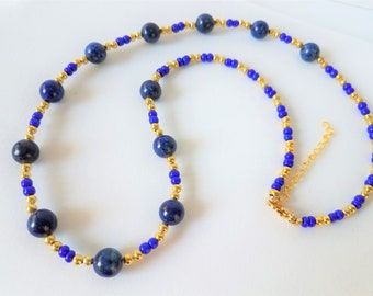 """Kyanite stone 14k Gold bead 24"""" necklace,Kyanite Gemstone bead, blue glass beads paired with gold plated beads, gold lobster claw w/ 3 inch"""