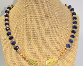 Lapis Lazuli Gemstone Faceted Choker Necklace,Gold filled Corrugated Beads,Gold filigree spacers & Gold Plated Copper Leaf hook clasp,19.5""