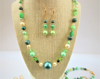 Green Glass Pearl necklace, Czech glass green pearls,Green Goddess pearls,multi-green, 3mm-16x12mm mixed shape18 inch necklace , 2 inch ext.