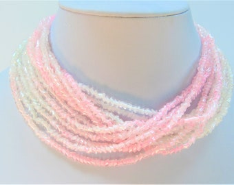 Pink White Ombre Bohemian Glass 6 strand Torsade or Choker Necklace,Sparkling Lampwork Pink Crystal Pearl beads add Closure,Straight/Twisted