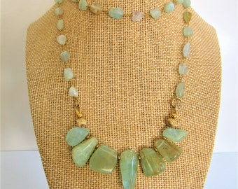 Aquamarine bead Necklace,Pendant Necklace,Rosary Chain Aqumarine,Natural polished gemstone,Set of 6 Aquamarine,Aquamarine Gold long necklace