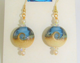 Beach Wave,Bead Earrings,Med.Blue/White Swirl, Glass Beach Wave Bead,Genuine Pearls,Aurora borealis crystals,Gold Ear wire,Fishhook,Lampwork