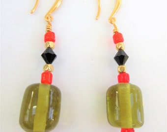 Olive Black Red Glass Earrings,w/ cherry black bi-cones & 14K gold soft cube beads,Ear hooks, Vintage glass beads, one of a kind,Hand Craft