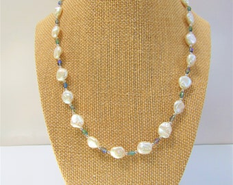 White coin pearls, Pearl Necklace,Pearl Coin Necklace,Sterling beads Pearls,Pearl silver & crystal Necklace,Bridal Necklace,Genuine Pearls