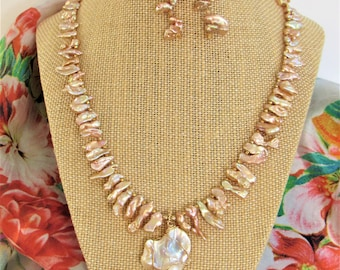 """ROSE GOLD Biwa Freshwater Pearl 20"""" Necklace Earrings,Gold wrapped Flare Pearl Pendant,14K Gold spacer/crystal beads,wire,hook,Lobster Clasp"""