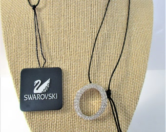 Swarovski Oval Pendant,Sterling crystal,Vintage,Rare Pendant,Clear crystal,Black leather,32 inch adjustable cord,Perfect,New,Tagged like new