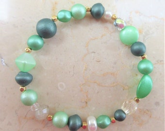 Green glass pearl bracelets,green goddess Czech glass beads,3 separate green bracelets, green glass pearls,Mix beads, 14k gold bead spacers,