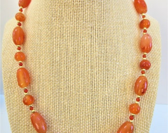 Carnelian Necklace,Gold bead necklace,Polished gemstone,carnelian and gold,plated gold bead, Carnelian Strand,twist screw clasp, hand strung
