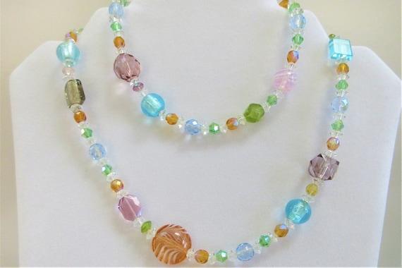 "Pastel 29"" Crystal bead Necklace,Strand of crystal beads,long single strand faceted crystal beads hand made lampwork beads, swarovski aurora"