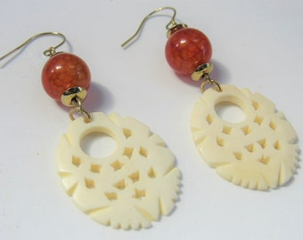 """Carved """"bone"""",earrings,amber,Look of real, Beadsdrops are acrylic,metal gold beads earwires,Lightweight,excellent quality,Natural Earrings"""