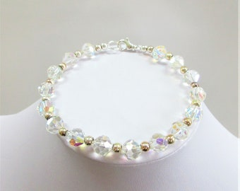 Faceted Aurora Borealis Crystal Bracelet, Sterling beads,7 mm cut crystals, 8 - 8.5 inches long,fit of average,Vintage beads,Sparkling Piece