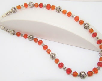 Amber Necklace,Faceted Amber Bead Necklace,Amber Sterling bead Choker,Genuine Amber bead Jewelry,Sterling Amber Bead Necklace,Amber Choker