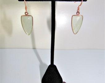 Rose Gold Bezel,Moonstone Pendant Earring,White Moonstone,Facet Moonstone Jewelry,White Moonstone Earrings,Earring Pendant Set,14K Rose Gold