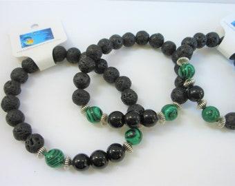 Men's Bracelet,Black Lava Bracelet,Malachite Bracelet,Men's Stretch Bracelet,Black Obsidian,Sterling Silver,Masculine,Unisex,Stone Bracelet