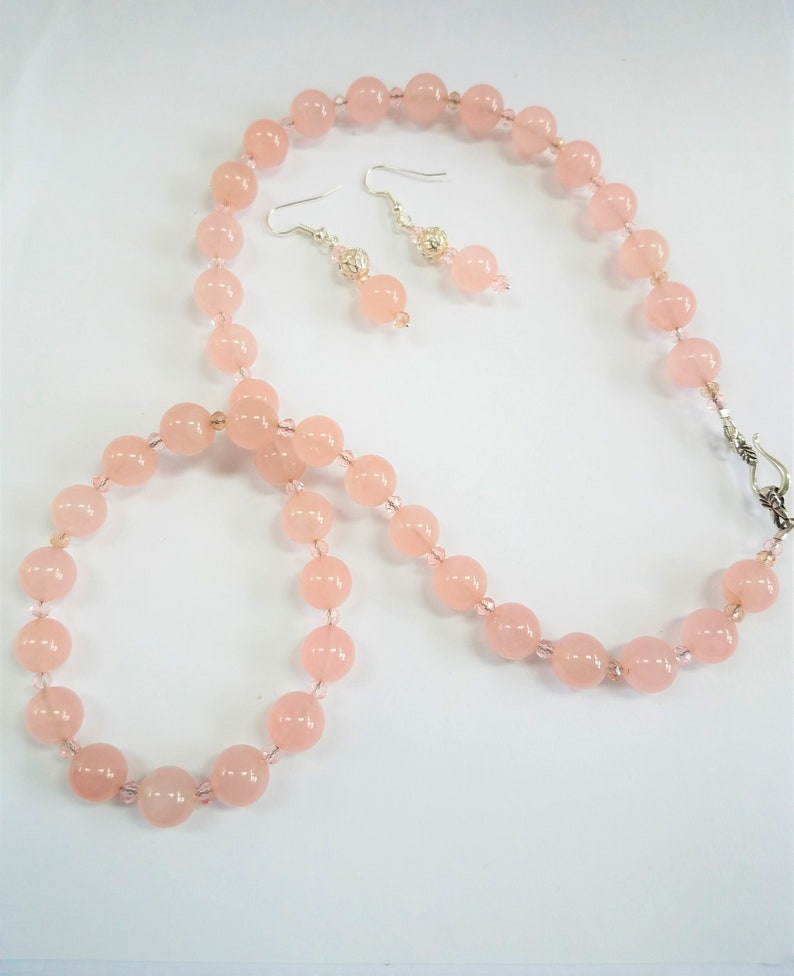 Pink Champagne 24w Pink crystal necklace,SS hook closure Rose Quartz Necklace complete with matching earrings,silver cage ball bead