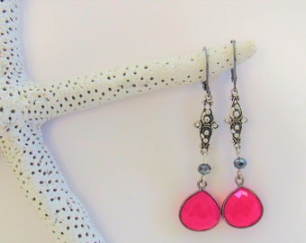 Berry Pink Chalcedony Black Gold Earrings,13 X 13 mm Gemstones,Sterling Silver filigree Connectors,Charcoal Crystals & Leverbacks, Sparkling