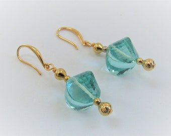 Aqua Blue Moldavite, Bead Earrings,Aqua Color, Synthetic Moldavite,Large Twisted Rondelle,Gold Plated Beads/wires.16mm focal,Only 1 Pair