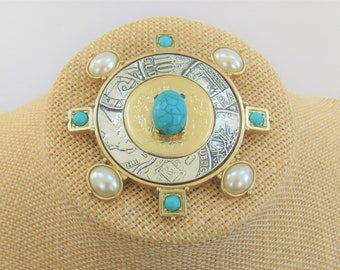 Large Silver qnd Gold,Turquoise and Pearl Pin Brooch,2 3/4 inch round diameter, International coin design frame gold leaf/Turq oval Cabachon