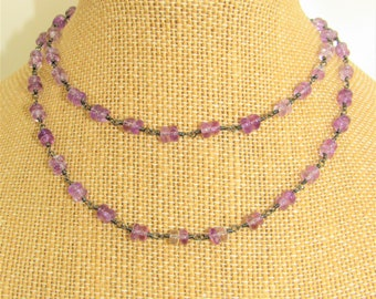 Amethyst Black Gold Chain,Amethyst Necklace,Amethyst nuggets,Black Gold Chain,24 inch chain,Amethyst double stone,Amethyst Boho Necklace